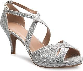 Women's Sexy Strappy Glitter Rhinestone Open Toe Heel Sandals - Adjustable Buckle
