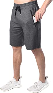 90 Degree By Reflex Men's Casual Fit Workout Shorts with Drawstring and Zipper Side Pockets