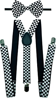 CD Suspender with Matching Bow Tie Set |Elastic, Adjustable, Y-Back| for Men and Women