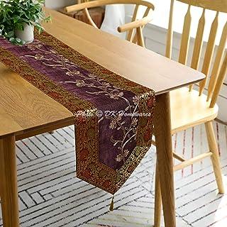 DK Homewares Chemin de Table en Tissu de Tissu de Brocart décoratif Indien 72 Pouces pour Les fêtes Boho brodé Ari Tassel ...