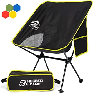 Rugged Camp Portable Folding Chair - Perfect for Camping, Beach, Sporting Events, Festivals - Camp Accessory and Outdoor Folding Chair