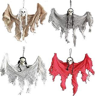 5 PCS Halloween Hanging Small Skull Decoration, Halloween Hanging Ghost Prop Halloween Hanging Skeleton Flying Ghost Hallo...