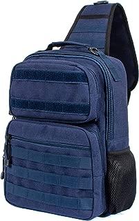 H HIKKER-LINK Tactical Sling Bag Pack Military Rover Molle Daypack Dark Blue