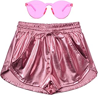 Women's Metallic Shorts Summer Sparkly Hot Outfit Shiny Short Pants