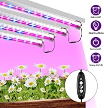 CXhome LED Grow Lights T5 Full Spectrum 4 Plant Lamps with Auto Timer 3/6/12/24H 6500K Growing Light for Indoor Plants from Seeding to Harvest