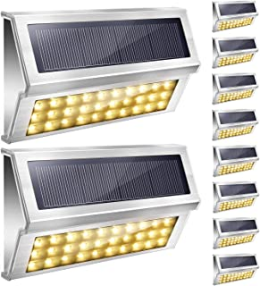 Upgraded 30 LED Solar Step Lights 3000K Warm White JACKYLED 10-Pack Outdoor Stainless Steel Solar Stair Lights Waterproof ...