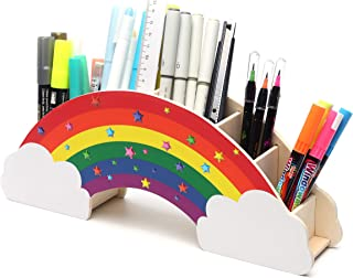 EXERZ Rainbow Desk Organiser with Star Stickers for DIY Creative Decoration, Desk Tidy, Office Supplies, Student Stationer...
