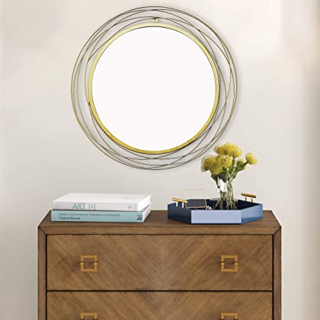 Craftter Round and Round Design Gold Color Round Metal 32 inch Wall Mirror Decorative Hanging Mirror