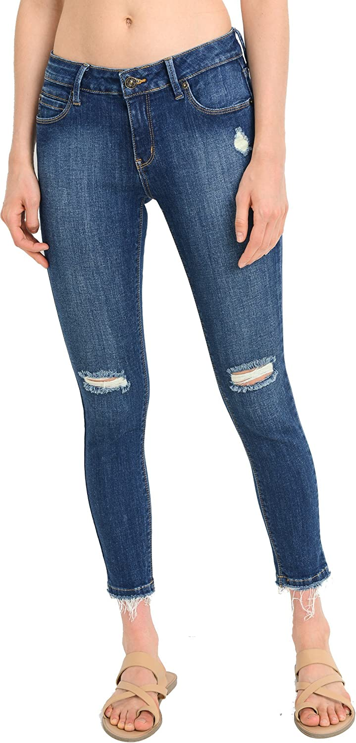 Just Usa Women's Knee Cut Stretch Ankle Skinny Jeans