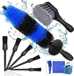 Kohree 9Pcs Wheel Tire Brush Set for Cleaning Wheels, Detail Car Wash Wheel Cleaner Rim Brushes Kit for Washing Tires Vehi...