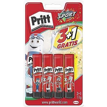 Pritt Barra Adhesiva, pegamento infantil seguro para niños para manualidades, cola universal de adhesión fuerte para estuche escolar y oficina, 3+1 x 11 g Pritt Stick: Amazon.es: Oficina y papelería