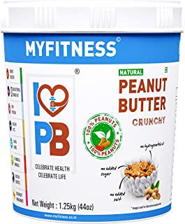 MYFITNESS Natural Peanut Butter Crunchy 1250g (Unsweetened)