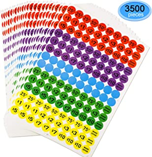 Preprinted Pricing Labels, EAONE Garage Sale Labels Pup Neon Stickers Removable, 3/4 Inch Diameter, Pack of 3500