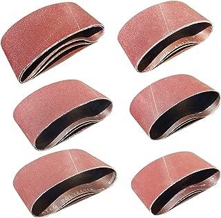 Sackorange 18 PCS 4 inch x 21 inch Abrasive Sanding Belts - 3 Each of 60 80 120 150 240 400 Grit Aluminum Oxide Sanding Belts For Belt sander (4x21in)