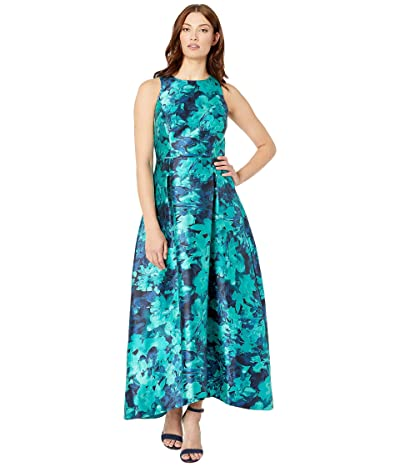 Tahari by ASL Printed Mikado High-Low Hem Dress (Jade Abstract Floral) Women