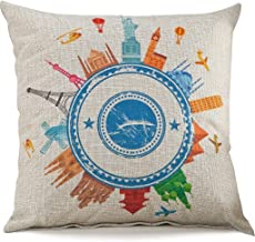 Cotton Linen Blend Cushion Square Decorative Throw Pillow World Tour Series Cover Modern Earth