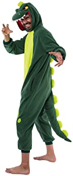 Spooktacular Creations Unisex Adult Pajama Plush Onesie One Piece Dinosaur Animal Costume