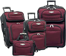 Travel Select Amsterdam 4-Piece Travel Expandable Rolling Luggage Set, Red, Burgundy
