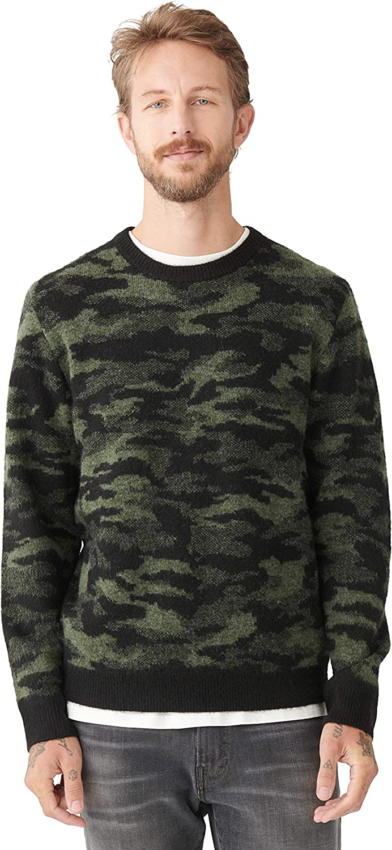 Lucky Brand Men's Long Sleeve Crew Neck Camo Pullover Sweater