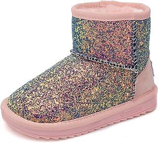 Zliya Kids Girls Boys Glitter Sequins Fur Snow Boots Slouchy Ankle Bootie