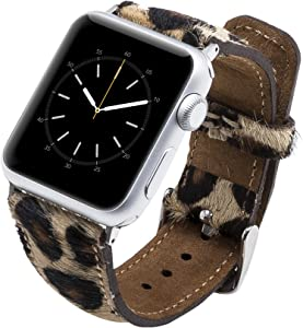 Venito Tuscany Leather Watch Band Compatible with Apple Watch 38mm 40mm - Watch Strap designed for iwatch Series 1 2 3 4 5 6, SE (Furry Leopard w/ Silver Connector & Clasp)