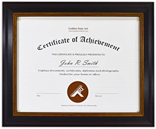 Golden State Art, 8.5x11 Photo Frame for Diploma/Certificate, Black Gold & Burgundy Color. Includes Real Glass & Table-top Display