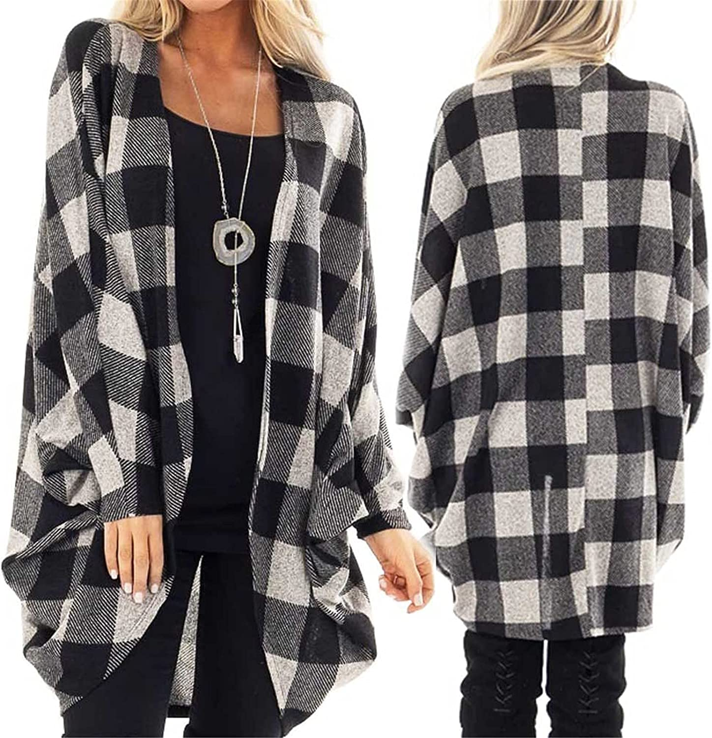 Womens Plaid Striped Long Sleeve Oversize Open Front Cardigans Casual Loose Sexy Patchwork Leopard Outwear