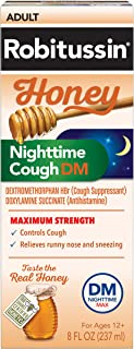 Robitussin Honey Adult Maximum Strength Nighttime Cough DM Max, Cough Suppressant & Antihistamine, Real Honey, 8 fl. oz. Bottle