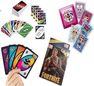 ML Pack de 4 Juegos de Cartas Uno, Juego de Mesa para niños y Adultos (Negro)