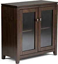 SIMPLIHOME Cosmopolitan SOLID WOOD 30 inch Wide Contemporary Low Storage Cabinet in Mahogany Brown, with 2 Tempered Glass ...
