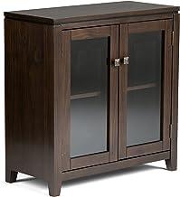 خزانة تخزين منخفضة معاصرة من الخشب الصلب طراز AXCRCOS14-MAH من Simpli Home بلون خشب الماهوجني بني