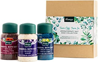 Kneipp Turn Off, Turn In Aromatherapy Bath Salt Soak Gift Set with Red Poppy & Hemp, Lavender and Valerian & Hops Salts