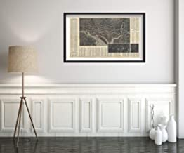 1934 Traster Bird's Eye View Antique of Washington D.C. Map Vintage Fine Art Reproduction Size: 14x24 Ready to Frame