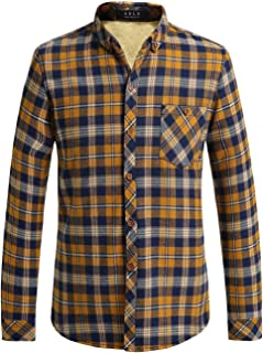 SSLR Men's Check Slim Fit Casual Long Sleeve Flannel Fleece Shirt