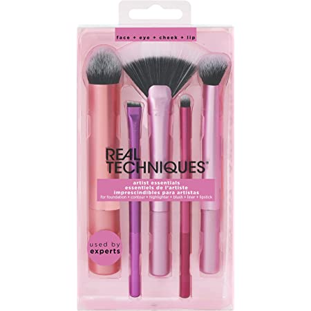 Real Techniques Artist Essential Makeup Brush Set, Includes Eye Liner Brush and Foundation Brush, Set of 5