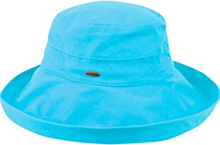 ANGELA & WILLIAM Women's Cotton Big Brim Hat with Inner Drawstring and UPF 50+ Rating