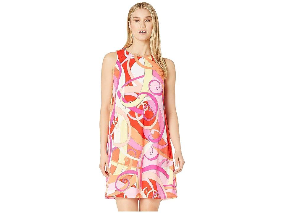 London Times Texture Knit Gauze A-Line Dress (Red/Pink) Women
