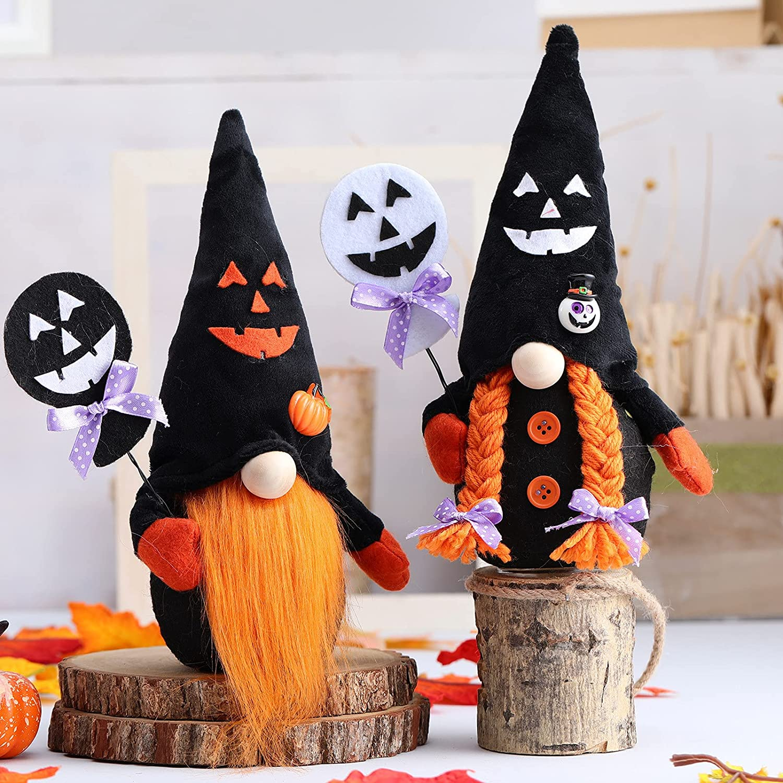 Yuanl 2 PC Halloween Gnomes Limited price Raleigh Mall Plush Scandinavian No Decor Figurine