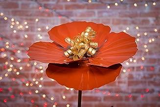 Desert Steel Poppy Garden Torch - 36-Inch All-Weather Metal Flower Art - 409-001
