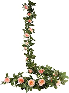 O-heart 2PCS(15.7 FT) Fake Rose Vine Artificial Silk Flowers Garland Hanging Rose Ivy Plants for Wedding Backdrop Baby Shower Home Decor