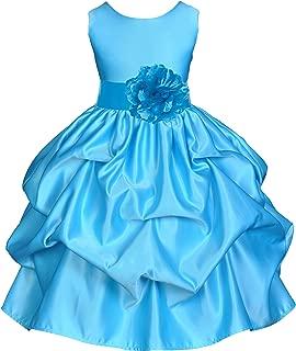 ekidsbridal Satin Pick-Up Turquoise Blue Flower Girl Dress Summer Easter Dresses Birthday Girl Dresses Toddler Dress 208T