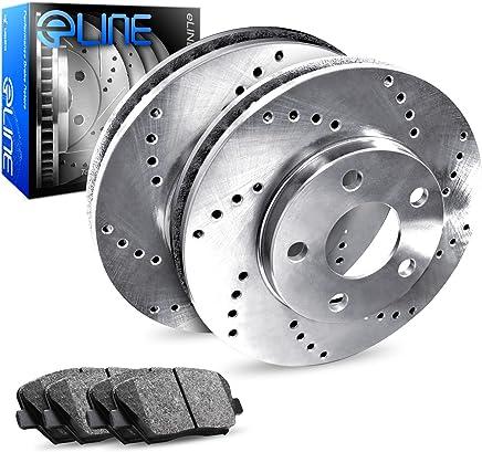 2003-2003 Mazda Protege Rear eLine Drilled Brake Disc Rotors & Ceramic Brake Pad
