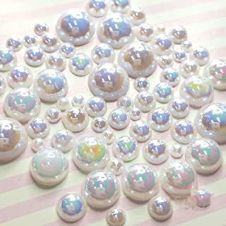 600 pcs 2mm -10mm White Resin Faux Round Shiny Pearls Flatback Mix Size Cabochonship with Rhinestones Samples from GreatDeal68