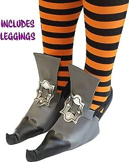Unique Vintage Witch Shoe Cover w/Legging Accessories Set for Adult Halloween Dress Up Black