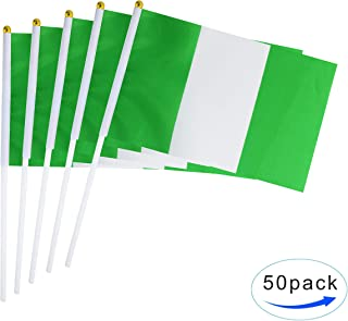 TSMD Nigeria Stick Flag 50 Pack Hand Held Small Nigerian National Flags On Stick,International World Country Stick Flags Banners,Party Decorations for World Cup,Sports Clubs,Festival Events