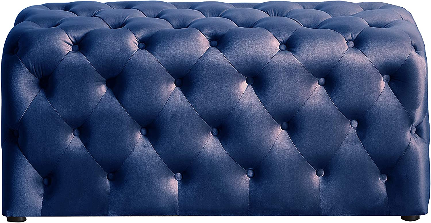 Nathaniel Home Our shop most popular Kate Deep Button Tufted Blue 5 ☆ very popular Ottoman Microfiber
