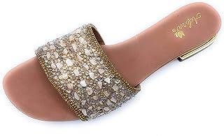 Ladies Adora Sandals, Flip Flops Indian Sandals, Flats Shoes, Women Flat With String Beaded, Stones & Crystal. ADORA ASI31...