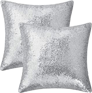 Fascidorm Set of 2 Silver Pillow Covers Sparkling Sequins Pillow Covers Mermaid Sequin Throw Pillow Covers Cushion Covers ...