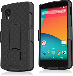 BoxWave Dual+ Holster Google Nexus 5 Case - 3-in-1 Case with Holster Combo Includes Protective Case and Belt Clip Holster with Integrated Viewing Stand (Jet Black)