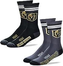 For Bare Feet Men's NHL (2-Pack)-4 Stripe Deuce Crew Socks-Size Large and Medium